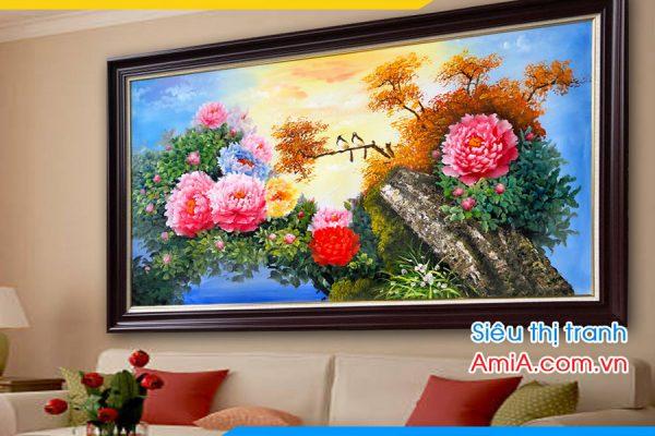 Tranh vẽ sơn dầu hoa mẫu đơn treo phòng khách hiên đại
