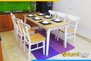 Bộ bàn ăn gỗ sồi 6 ghế BA035