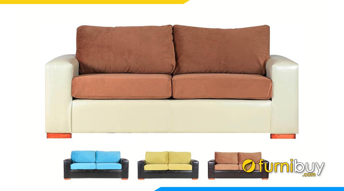Ghế sofa bọc da phối vải nỉ đẹp