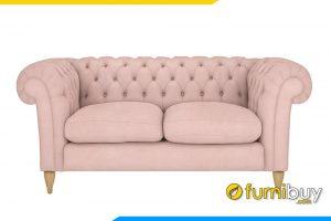 Bộ ghế sofa nỉ màu hồng dạng tân cổ điển FB20054