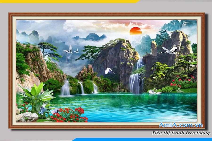 Mẫu tranh sơn thủy đẹp có thác nước nhẹ nhàng treo phòng khách đẹp AmiA 1328.