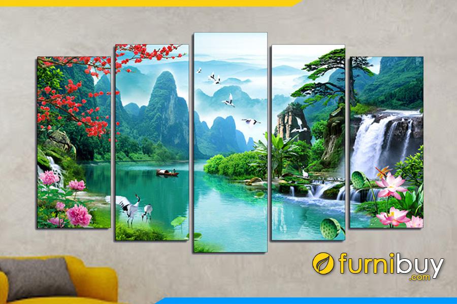 Mẫu tranh phong cảnh treo tường phòng khách đẹp AmiA 1555 non nước hữu tình