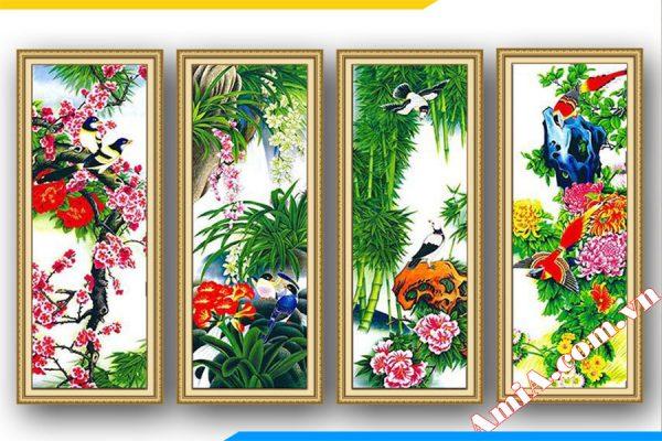 Tranh tứ quý bốn mùa xuân hạ thu đông treo phòng khách đẹp AmiA 1114