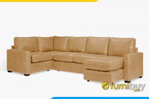Hình ảnh mẫu sofa da góc chữ U sang trọng FB20058
