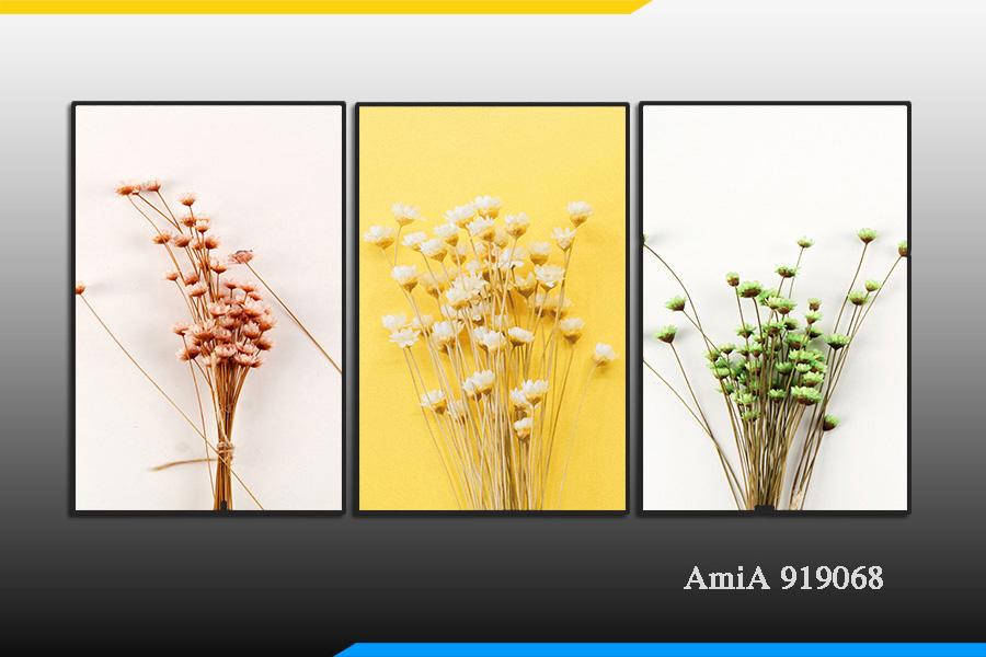 Tranh bộ canvas hoa bất tử treo phòng ngủ đẹp ý nghĩa AmiA 919068