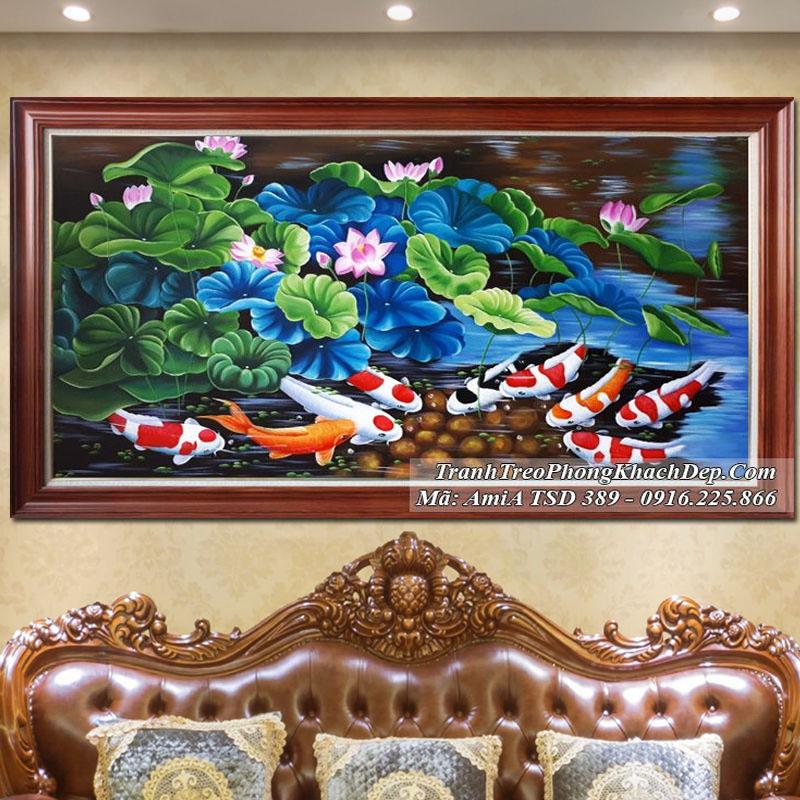 Tranh vẽ cá chép hoa sen TSD 389