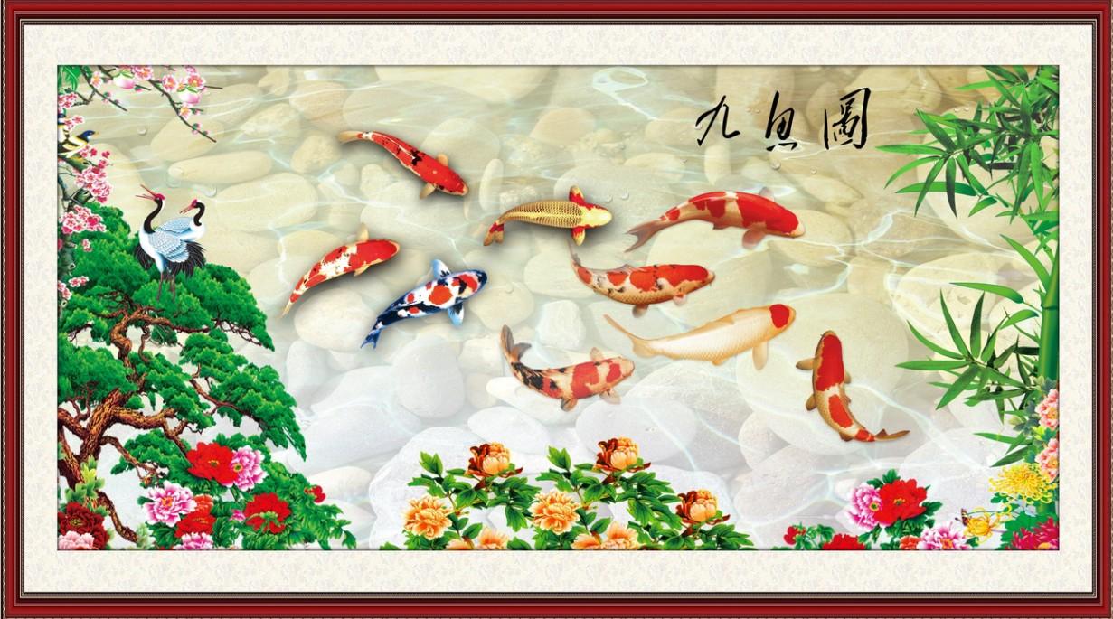 Tranh cá chép hoa mẫu đơn tùng hạc