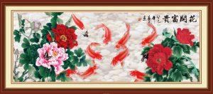 Tranh cửu ngư- cá chép hoa mẫu đơn bức tranh tài lộc may mắn cho gia đình
