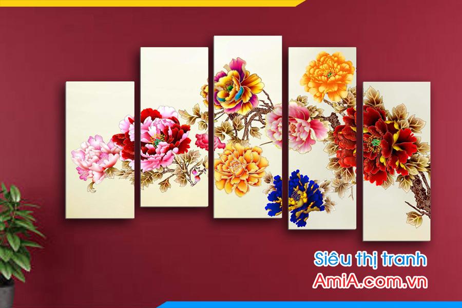 Tranh hoa mẫu đơn 9 bông AmiA 1090 treo tường phòng khách hiện đại.