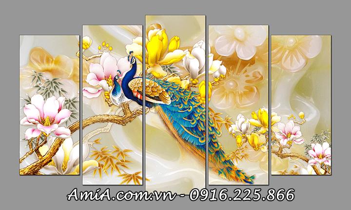 Tranh chim công và hoa mộc lan treo phòng khách ý nghĩa amia 1414