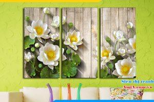 Tranh hoa sen trắng treo phòng khách hiện đại AmiA 1330