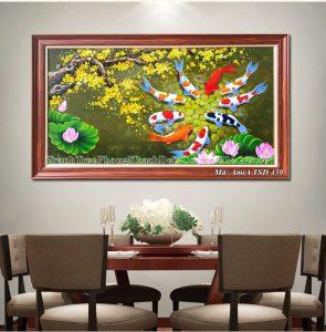 Tranh sơn dầu cá chép hoa sen Amia TSD 459