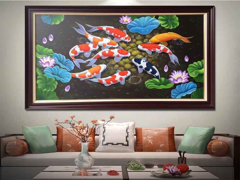 Tranh sơn dầu cá chép hoa sen TSD 207