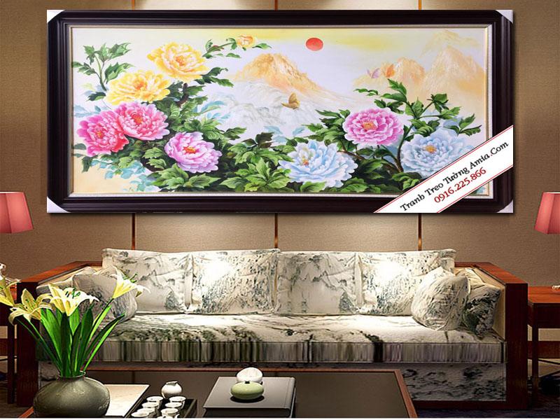 Tranh sơn dầu phong thủy hoa mẫu đơn 9 bông