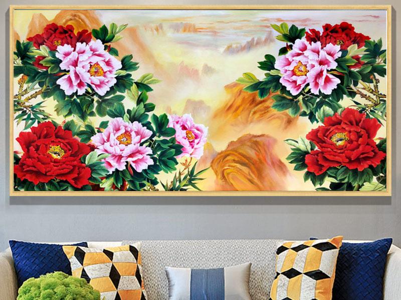 Tranh sơn dầu trang trí phòng khách hoa mẫu đơn 9 bông