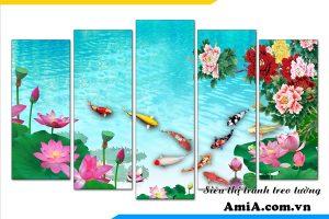 Tranh treo tường cá chép hoa sen mẫu đơn hiện đại amia 1605