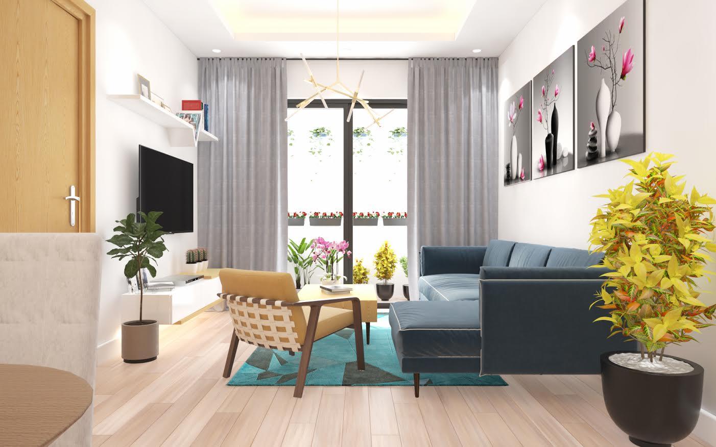 Phòng khách hiện đại cho chung cư X2 Đại Kim
