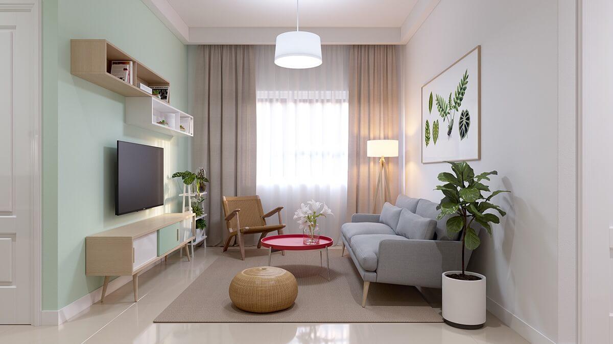 Trang trí phòng khách hiện đại căn dưới 65m2 chung cư X2- Đại Kim
