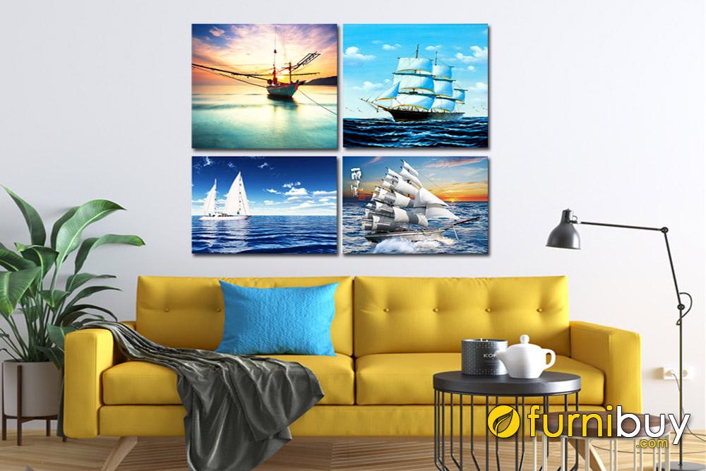 Set tranh thuận buồm xuôi gió trang trí phòng khách