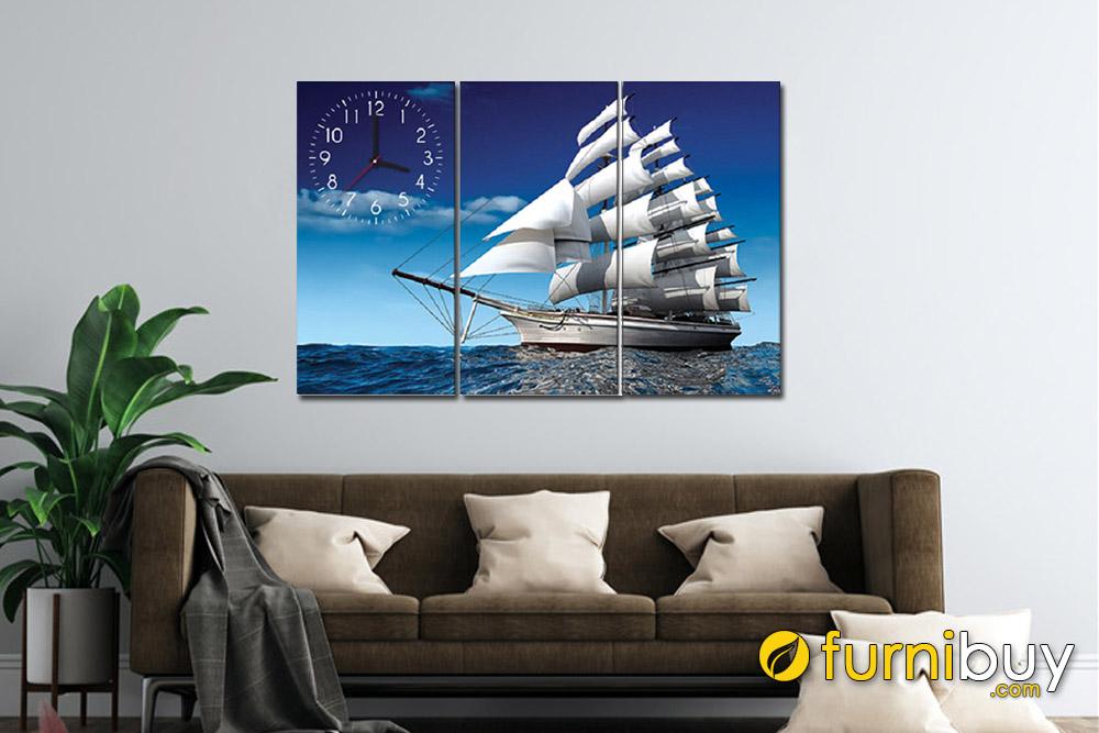 Tranh Thuận buồm xuôi gió ghép bộ có đòng hồ