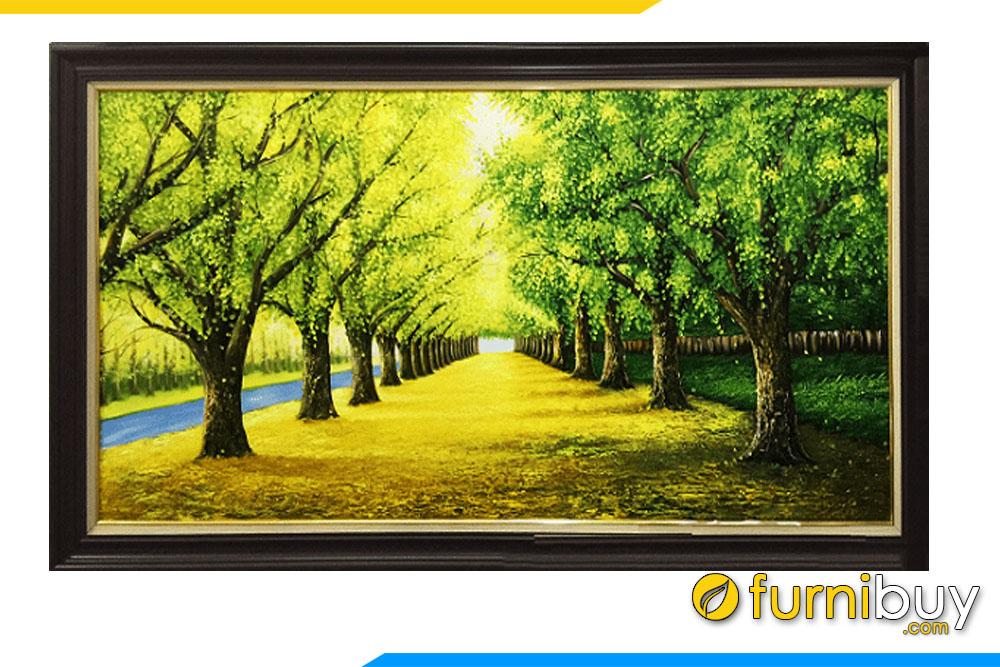Tranh hàng cây màu xanh cho người mệnh Mộc