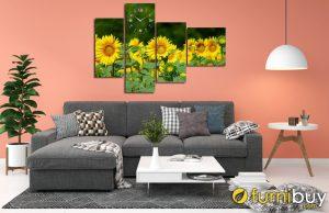 Tranh hoa hướng dương ghép bộ hiện đại Amia HHD01