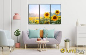 Tranh hoa hướng dương ghép bộ treo phòng khách đẹp AmiA IST180012026