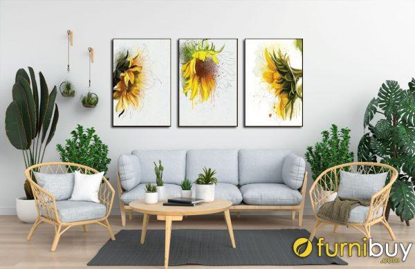 Tranh canvas bộ hoa hướng dương treo phòng khách đẹp AmiA 1486.