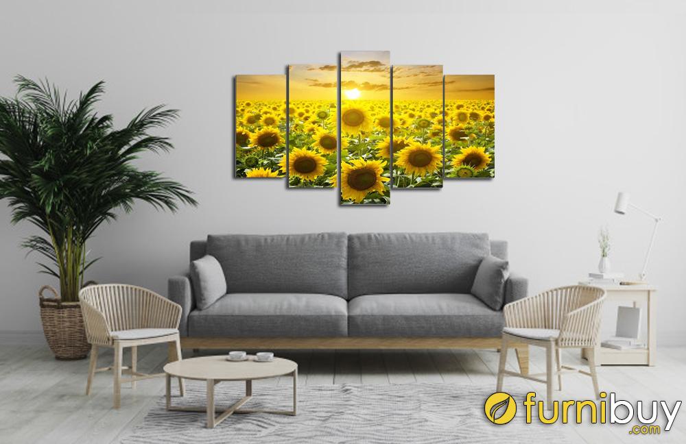Tranh hoa hướng dương ghép bộ treo phòng khách đẹp AmiA 1409