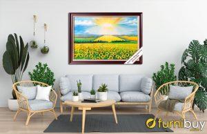 Tranh vẽ sơn dầu cánh đồng hoa hướng dương