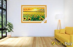 tranh sơn dầu hoa hướng dương treo phòng khách nhỏ AmiA TSD 429