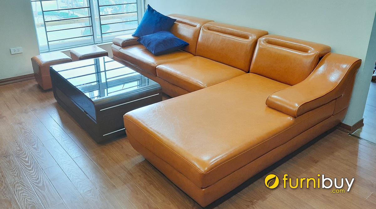 Sofa phòng khách chung cư chất liệu da