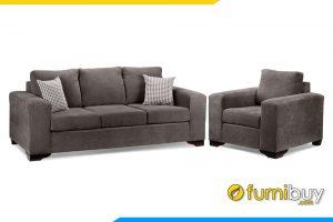 Bộ ghế sofa văng phòng khách với gam màu ghi hiện đại
