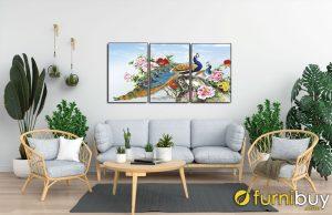 Tranh hoa mẫu đơn chim công treo phòng khách đẹp AmiA 1606B
