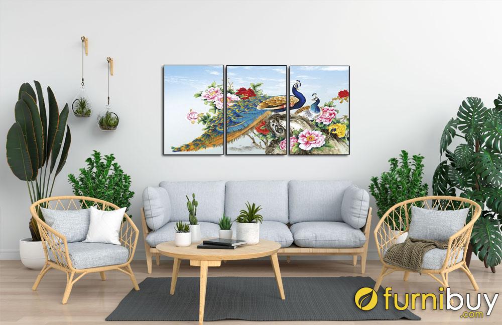 Tranh hoa mẫu đơn chim công 3 tấm
