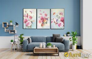 Tranh hoa mẫu đơn treo phòng khách đẹp AmiA 1784
