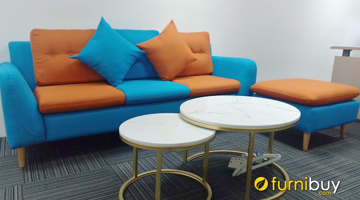 Ghế sofa nỉ vải đẹp phối nhiều màu