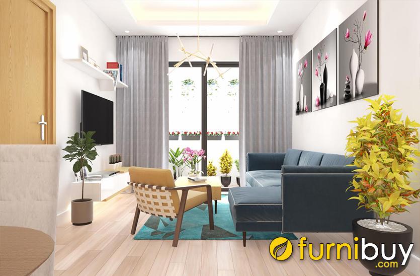 Tranh treo tường phòng khách nhỏ nên chọn các mẫu tranh tương đồng màu đồ nội thất