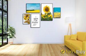 Sét tranh bộ hoa hướng dương treo phòng khách thu hút năng lượng tốt cho mùa hè AmiA 1789.