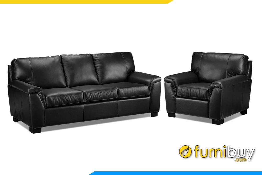 Ghế sofa phòng khách đẹp với gam màu đen tuyền rất sang trọng cho phòng khách hiện đại