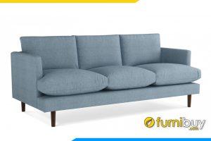 Ghế sofa được bọc với chất liệu nỉ màu xanh dương tạo sự hài hòa bắt mắt cho phòng khách