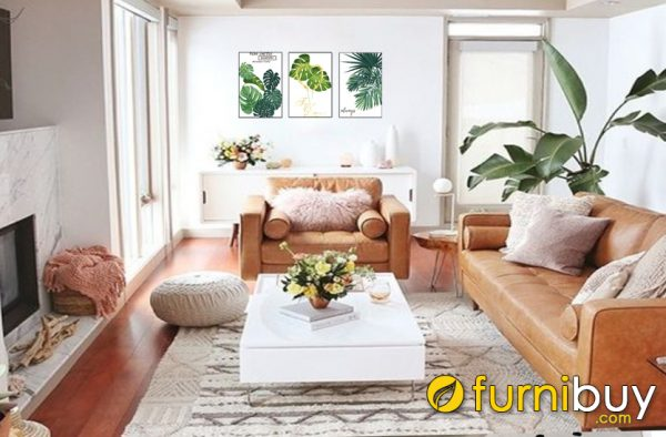 Tranh trang trí phòng khách nhỏ lá cây nhiệt đới Amia 919050.