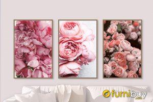 Tranh hoa mẫu đơn treo phòng ngủ đẹp AmiA CV HMD1002