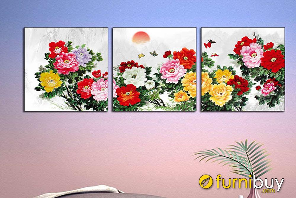 Tranh hoa mẫu đơn ghép 3 tấm
