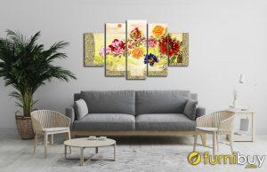 Tranh treo tường hoa mẫu đơn ghép bộ 5 tấm đẹp AmiA 1597