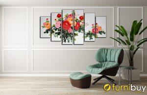 Tranh hoa mẫu đơn Amia 1382 trang trí phòng khách hiện đại