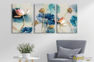 Tranh canvas hoa sen in giả 3D đẹp AmiA 1493