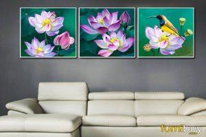 Tranh hoa sen 3 tấm amia 1496