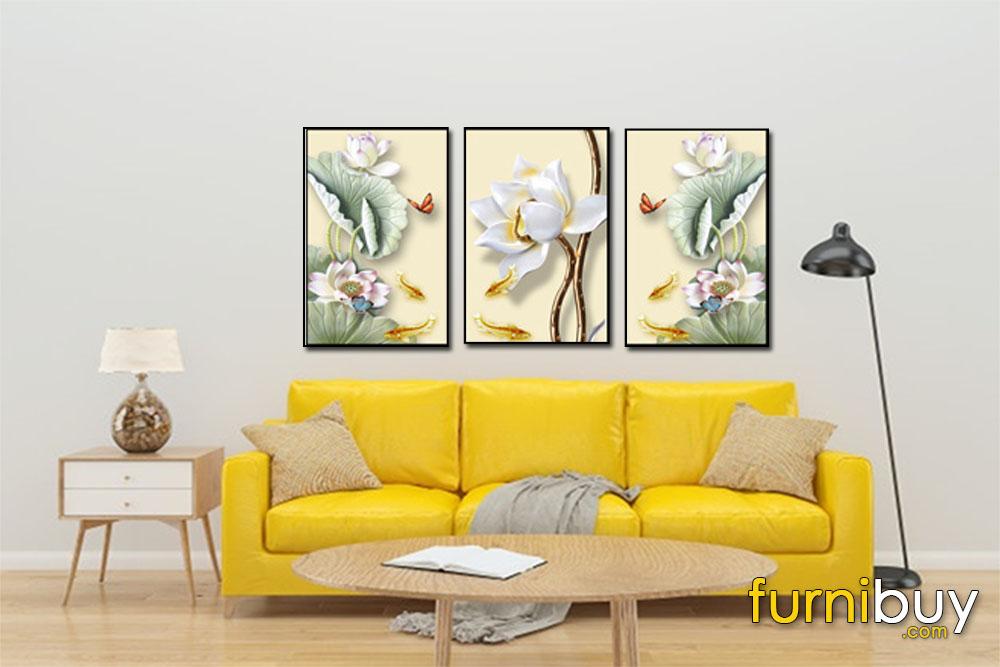 Tranh canvas hoa sen đẹp treo tường phòng khách AmiA 1726
