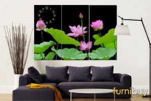 Tranh hoa sen 3 tấm amia 365